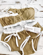 Khaki ribbed swim top