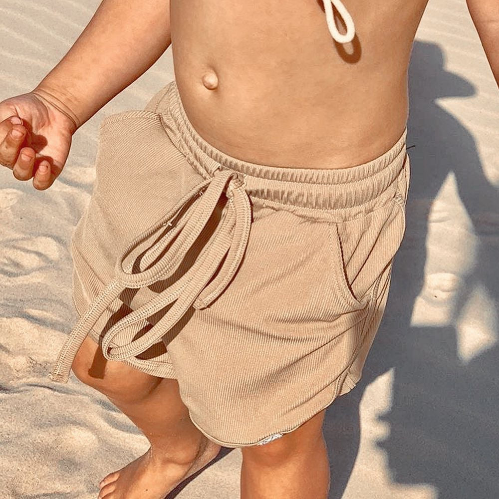 Khaki ribbed swim baggies