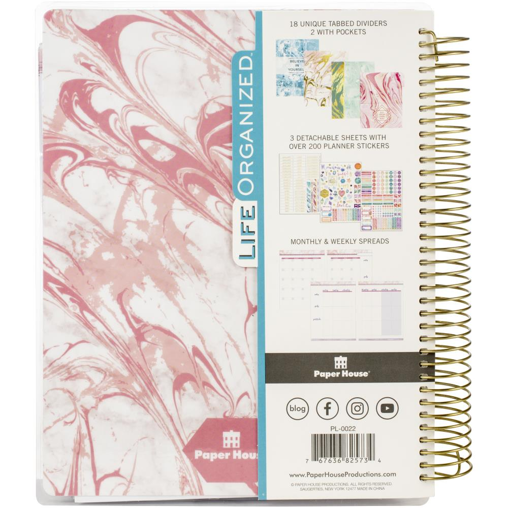 Paper House 18-Month Undated Planner in Pink Marble - Jolif The Craft Shop