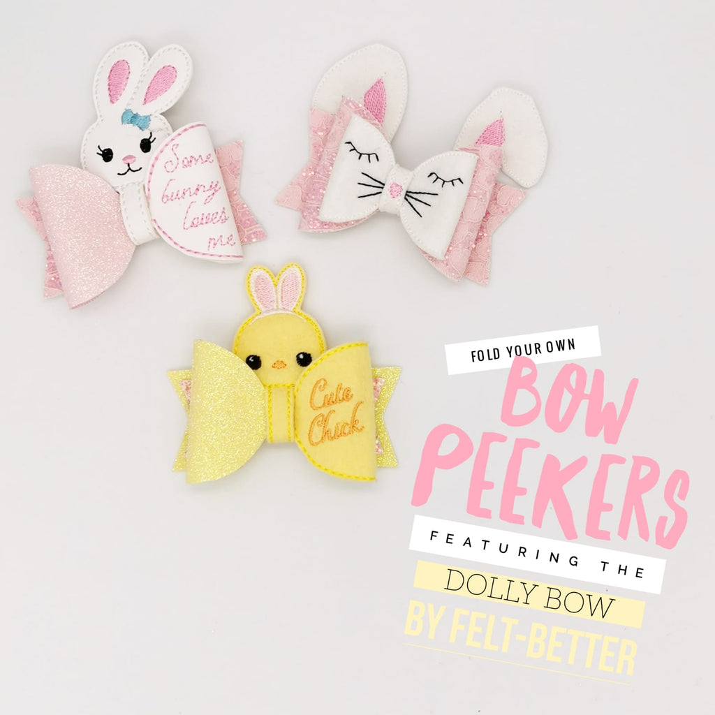 Cute Chick Bow Peeker Featuring the Dolly Bow by Felt Better - Jolif The Craft Shop