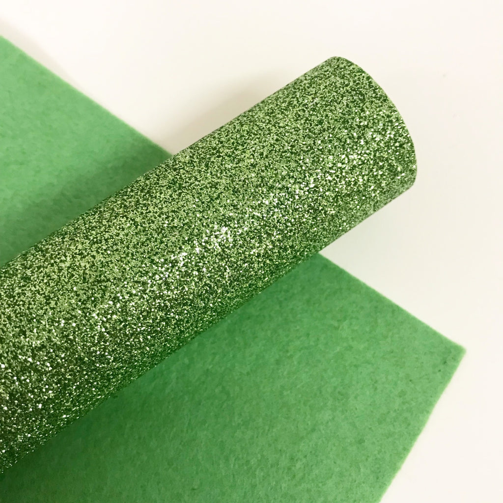 Apple Green Glitter Felt - Jolif The Craft Shop