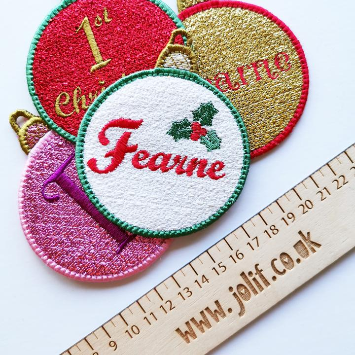 Personalised Holly Bauble - Jolif The Craft Shop