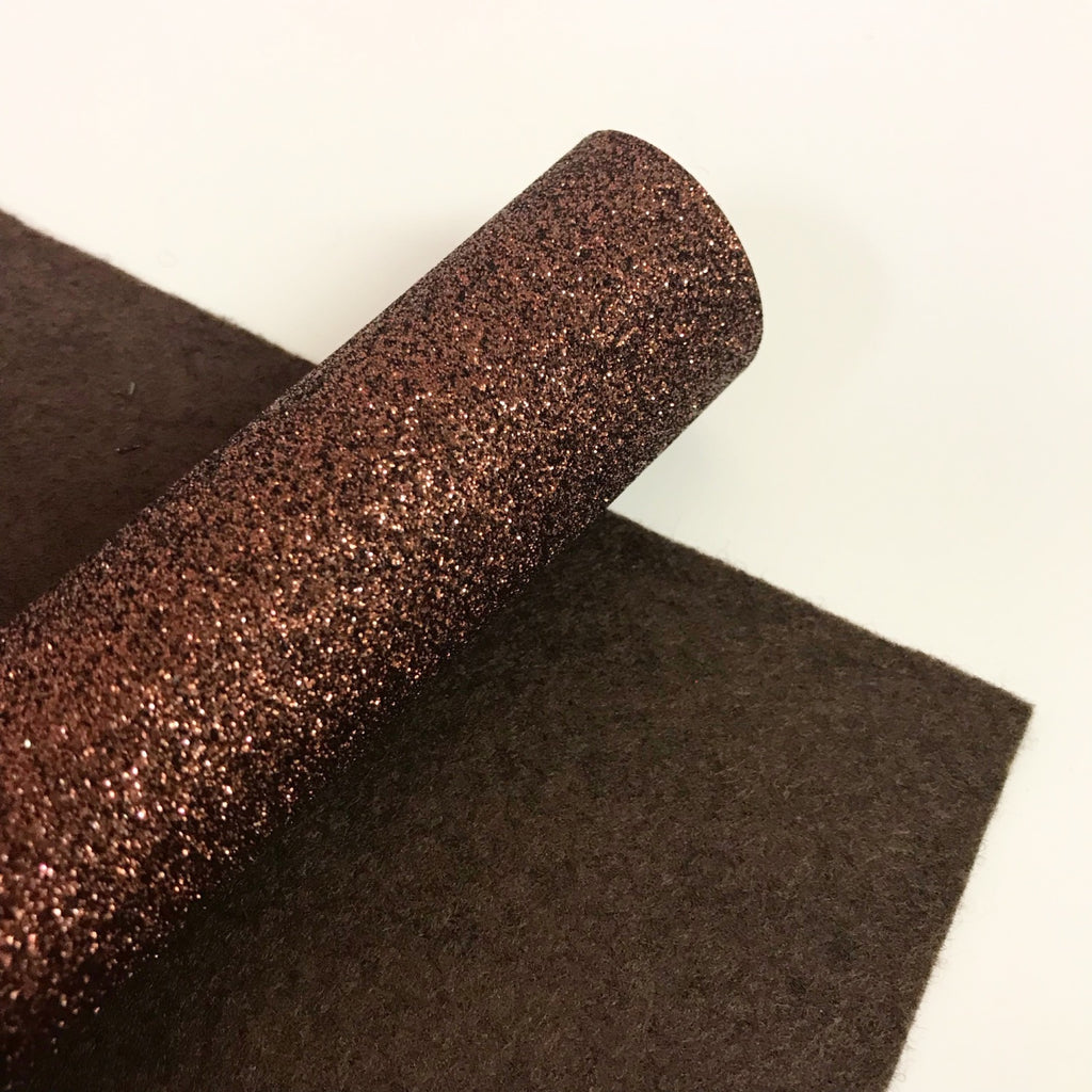 Chocolate Brown Glitter Felt - Jolif The Craft Shop