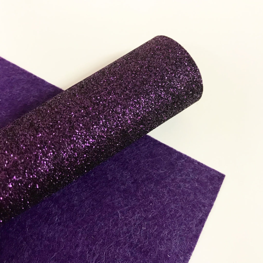 Dark Purple Glitter Felt