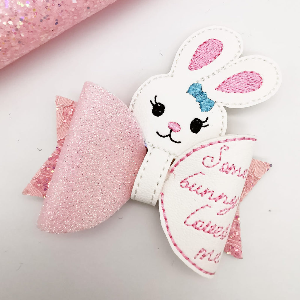Bunny Bow Peeker Featuring the Dolly Bow by Felt Better - Jolif The Craft Shop