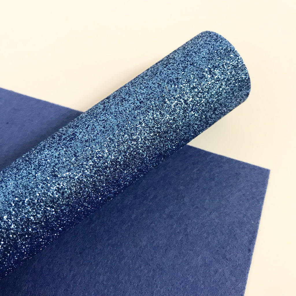 Light Denim Blue Glitter Felt