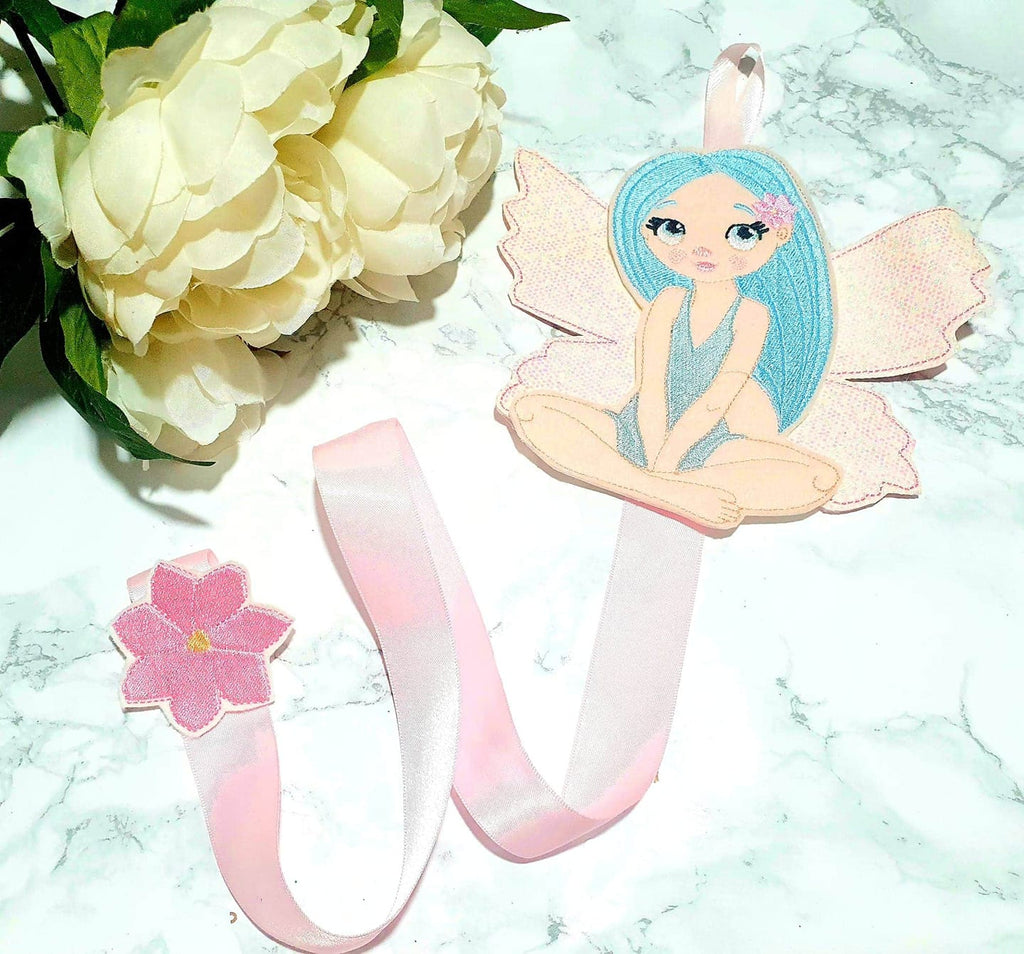 Blue Hair Fairy Bow Holder Embroidery File - Jolif The Craft Shop