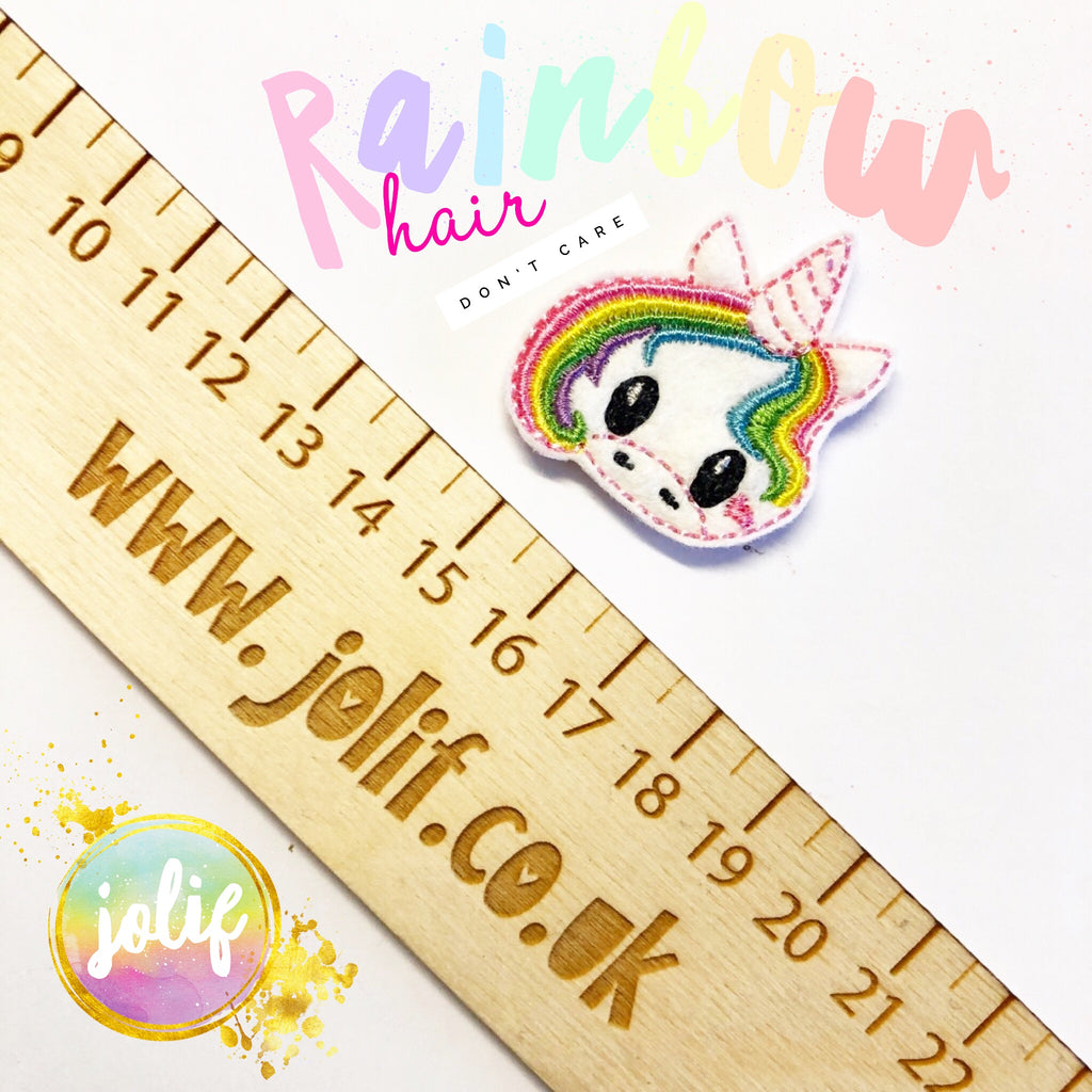 Rainbow Hair Feltie - strip of 3 - Jolif The Craft Shop
