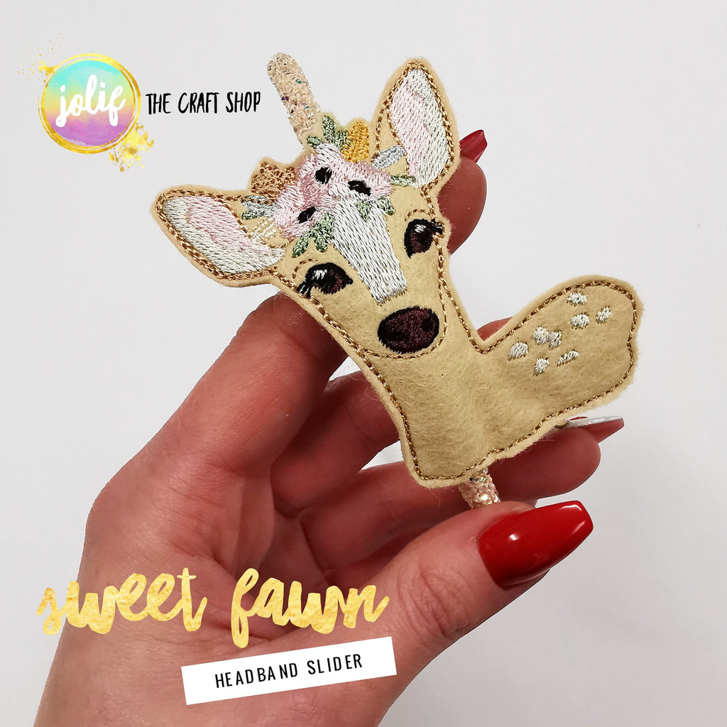Sweet Fawn Embroidered Slider Digitised by Jolif - Jolif The Craft Shop