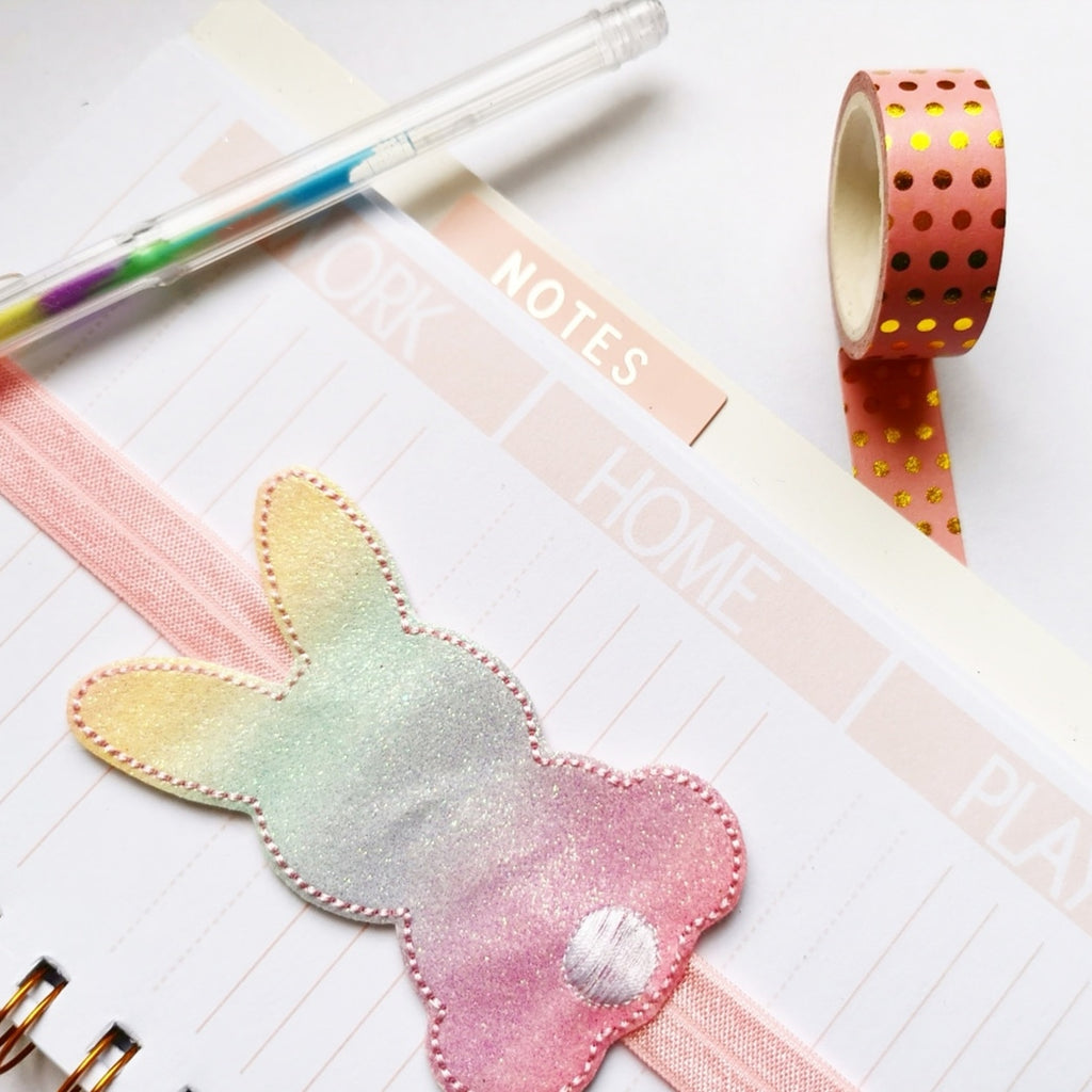 Sweet Bunny Embroidered Glitter Planner Bookmark - Jolif The Craft Shop