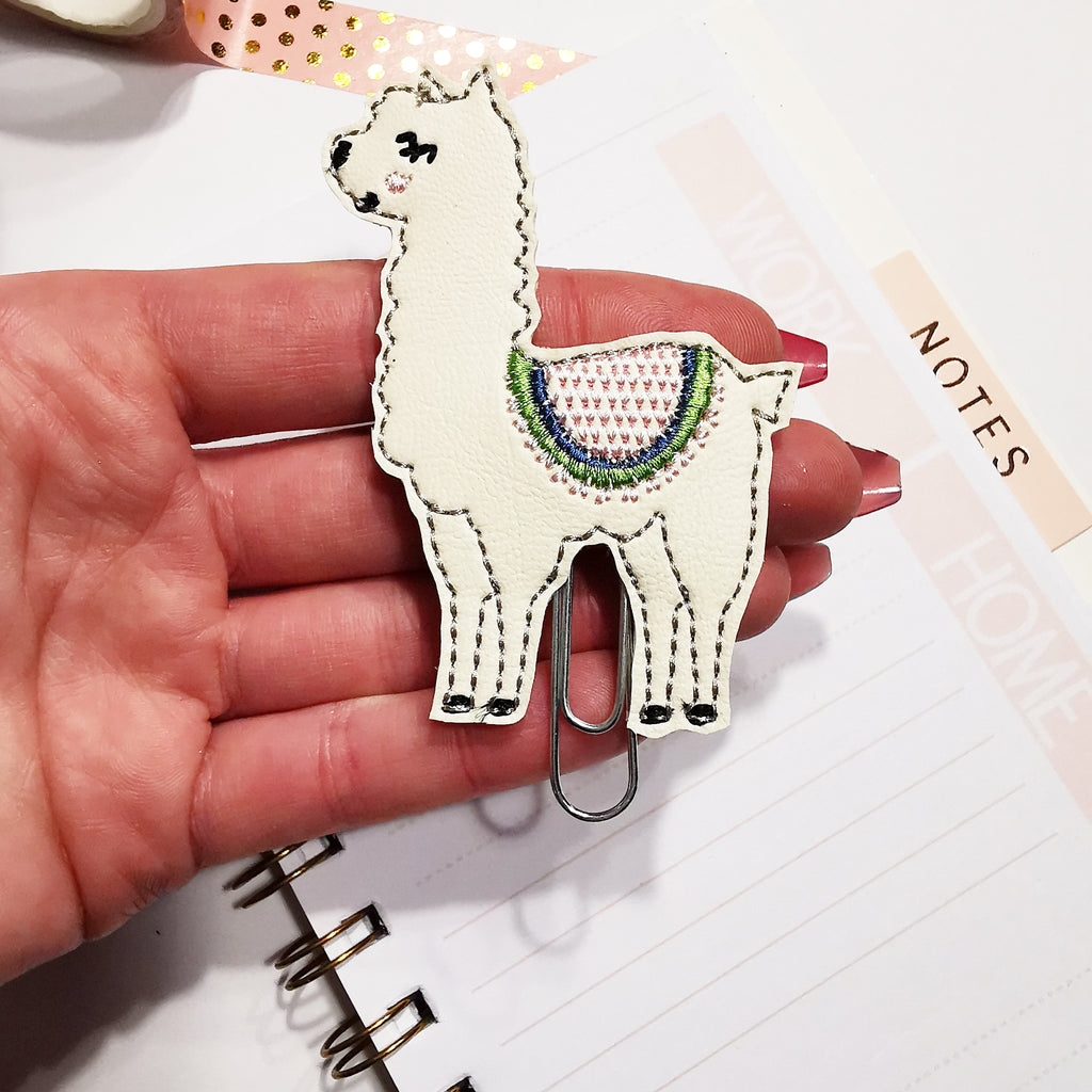 No Prob-llama Embroidered Planner Clip - Jolif The Craft Shop