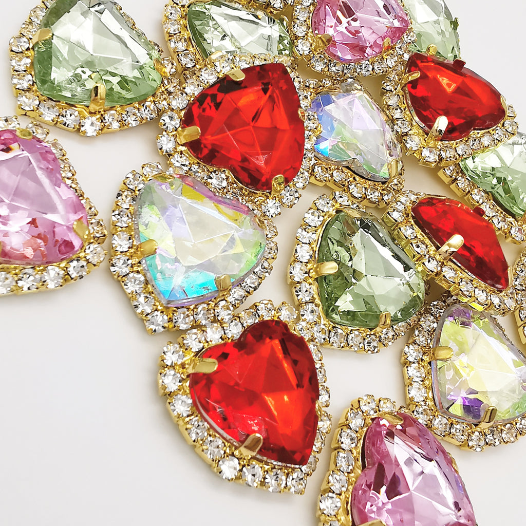 Heart Shaped Gem Embellishments - Jolif The Craft Shop