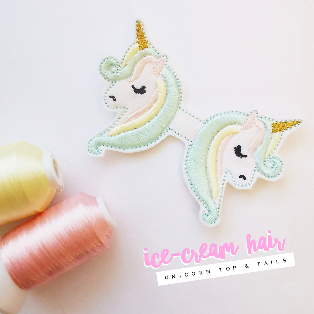 Ice-Cream Hair Unicorn Top & Tails - NEW COLOUR! - Jolif The Craft Shop