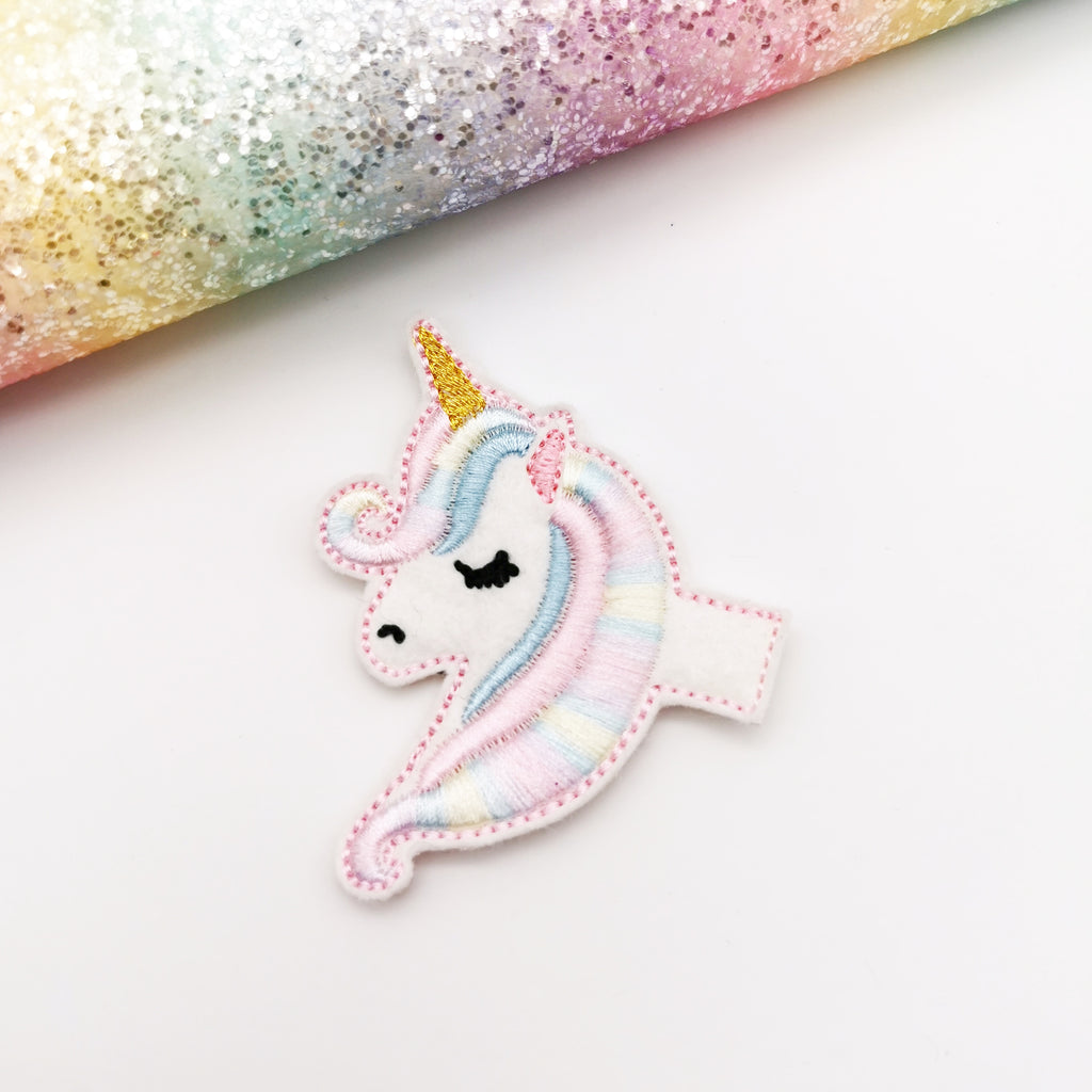 Be a Unicorn Embroidered Bow Half Featuring the Dolly Bow - Jolif The Craft Shop