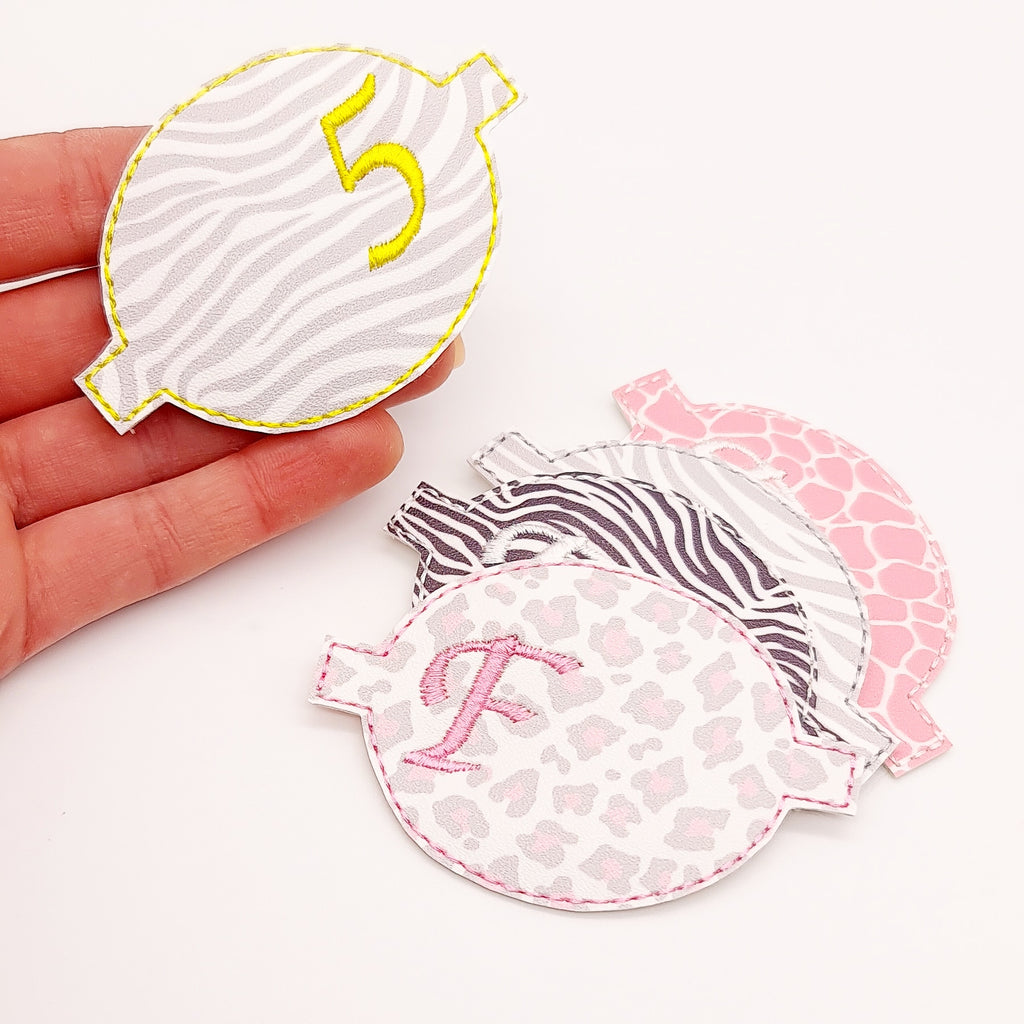 Wild Child Initial/Number Embroidered Bow Halves - Jolif The Craft Shop