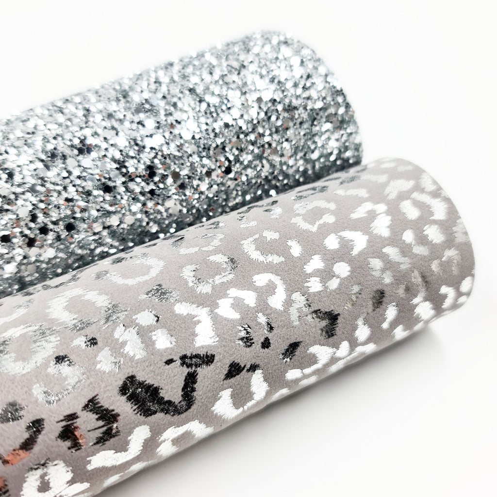 Grey Leopard Velvet Leatherette - Jolif The Craft Shop