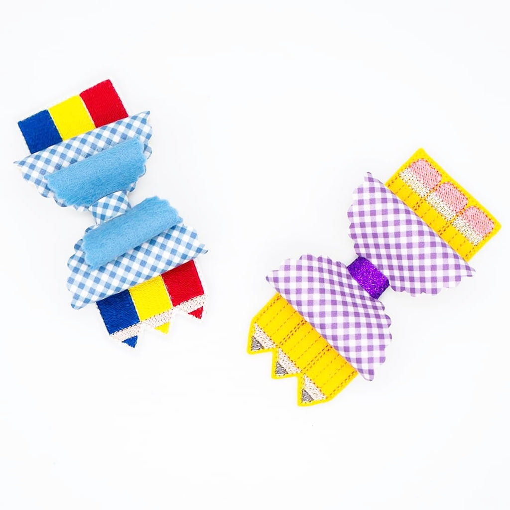 Pencils and Crayons Embroidered Bow Tails - Jolif The Craft Shop