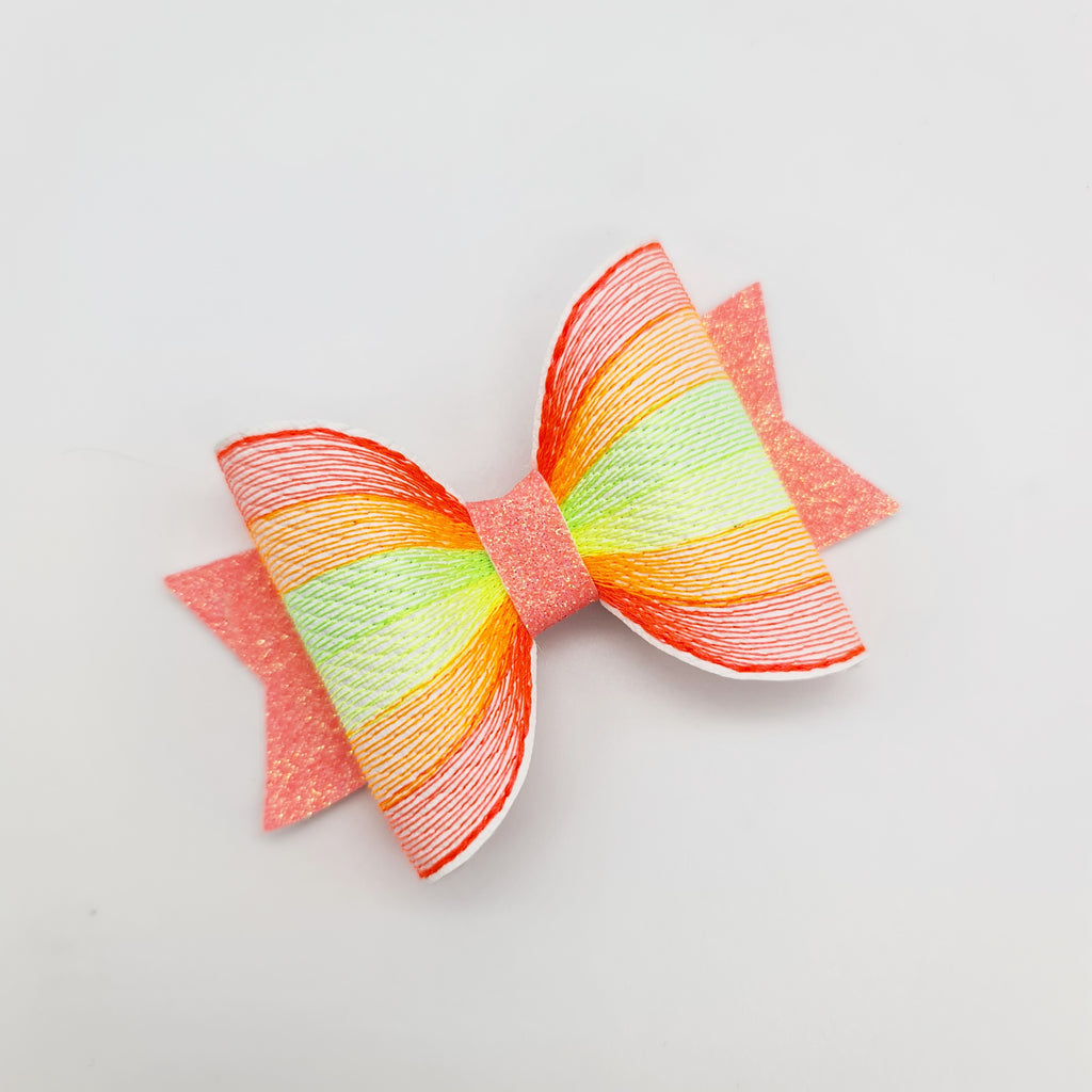 Rainbow of Stitches Embroidered Bows - Jolif The Craft Shop