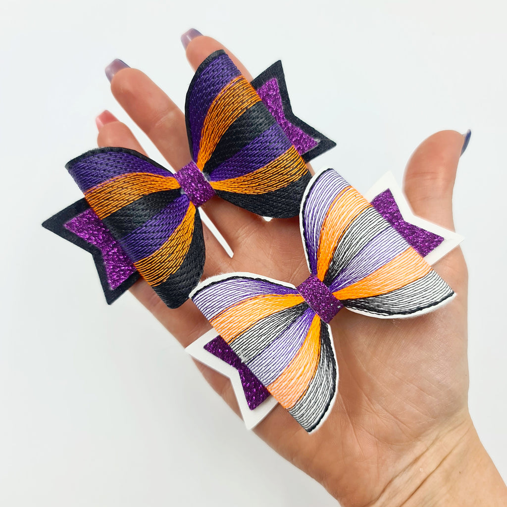 Rainbow of Stitches Embroidered Bows - Halloween Edition - Jolif The Craft Shop