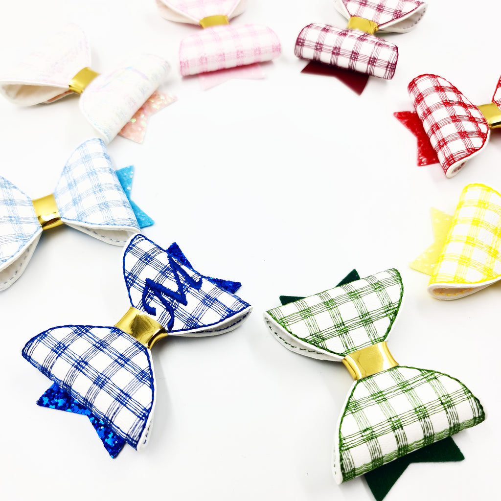 Gingham Stitched Embroidered Bows - Jolif The Craft Shop