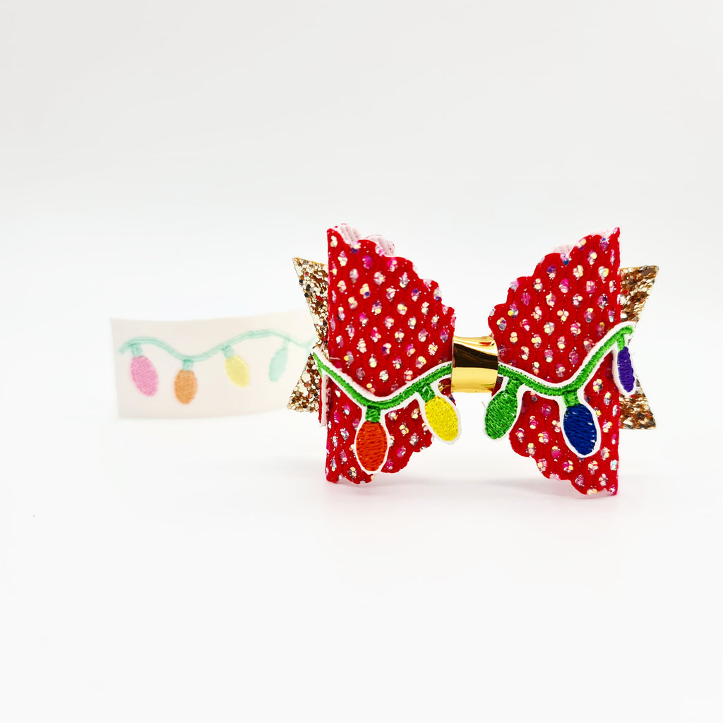 Christmas Lights Embroidered Bow Topper - Jolif The Craft Shop