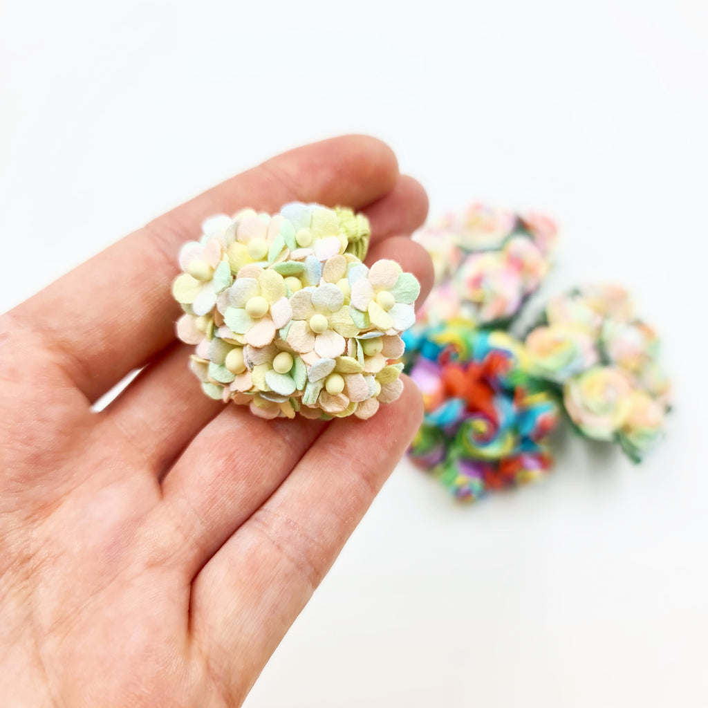 Miniature Mulberry Pastel Rainbow Sweetheart Blossoms - Jolif The Craft Shop