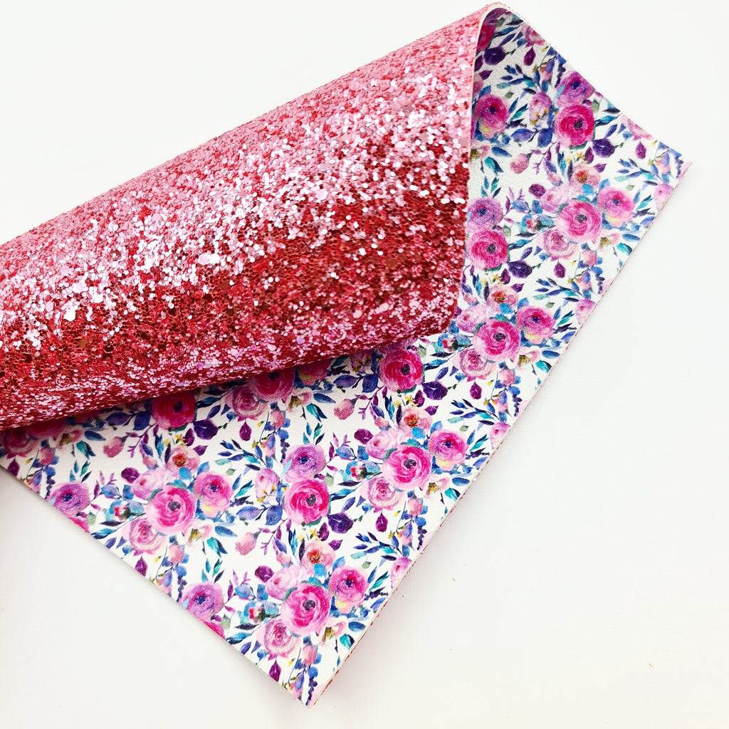 Fuchsia Pink Floral Double Sided Chunky Glitter - Jolif The Craft Shop