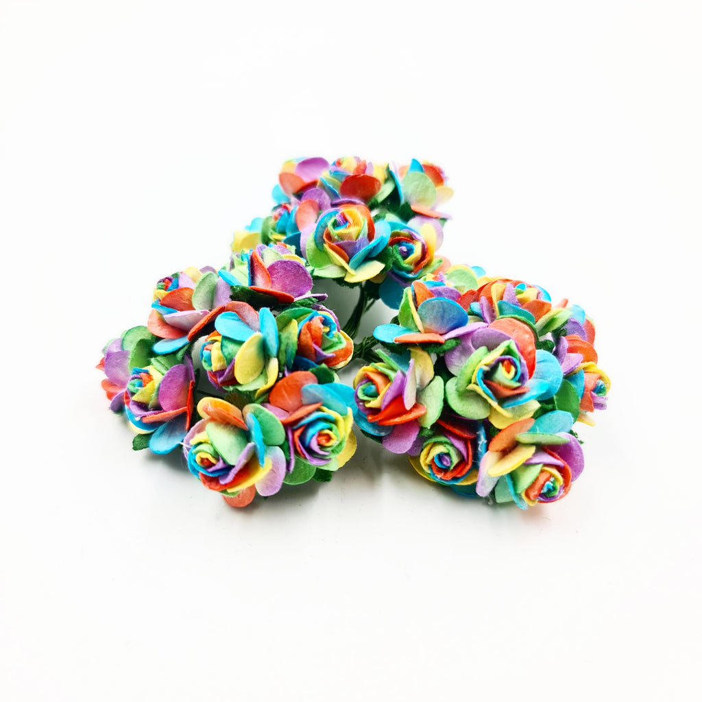 Bright Rainbow Mulberry Flowers - Jolif The Craft Shop