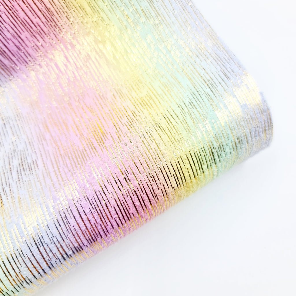 Rainbow & Gold Foil Soft Leatherette