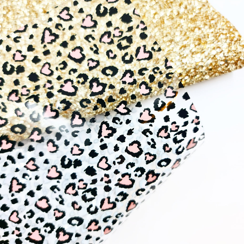 I Heart Leopard Print Transparent Vinyl - Jolif The Craft Shop