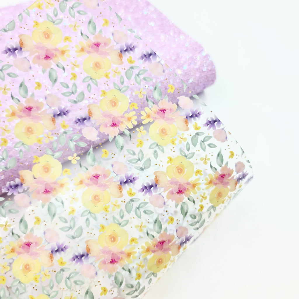 Lemon & Lilac Floral Transparent Vinyl - Jolif The Craft Shop
