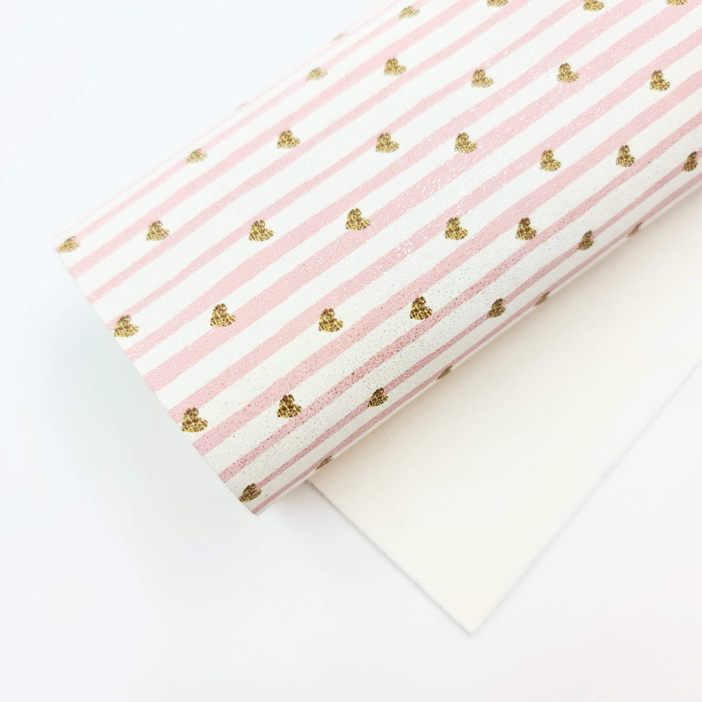 Mini Sheet Pink Stripe & Heart Glitter Suede - Jolif The Craft Shop