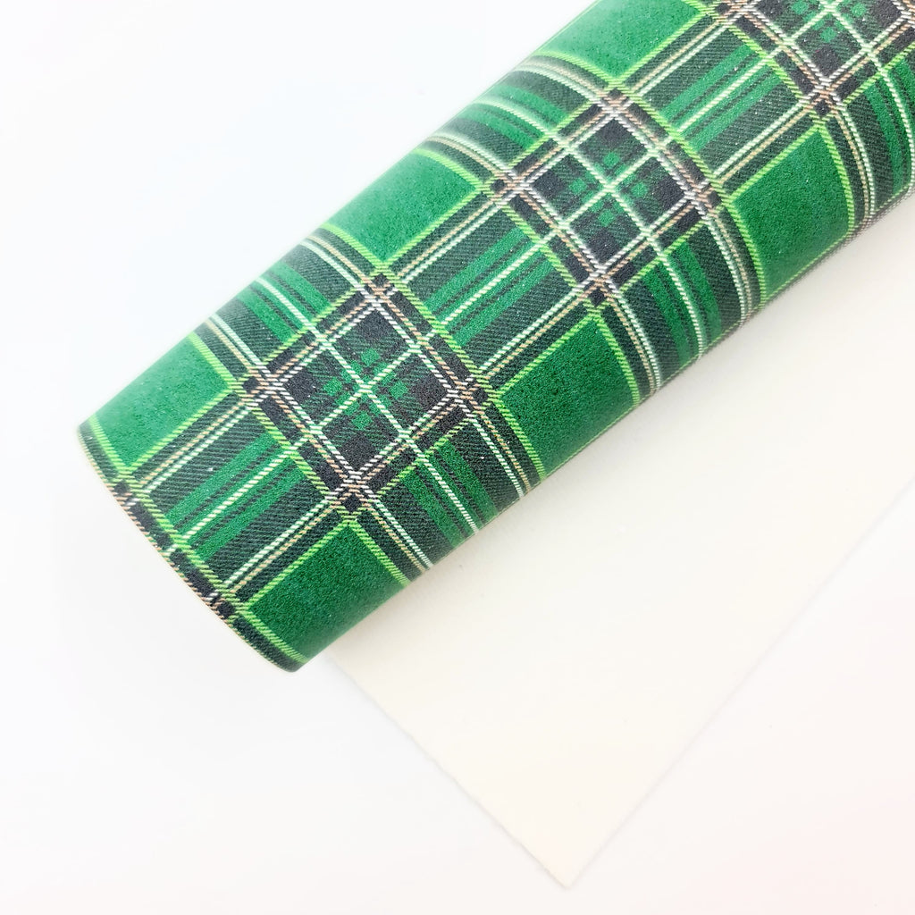 St. Patricks Plaid Glitter Suede - Jolif The Craft Shop