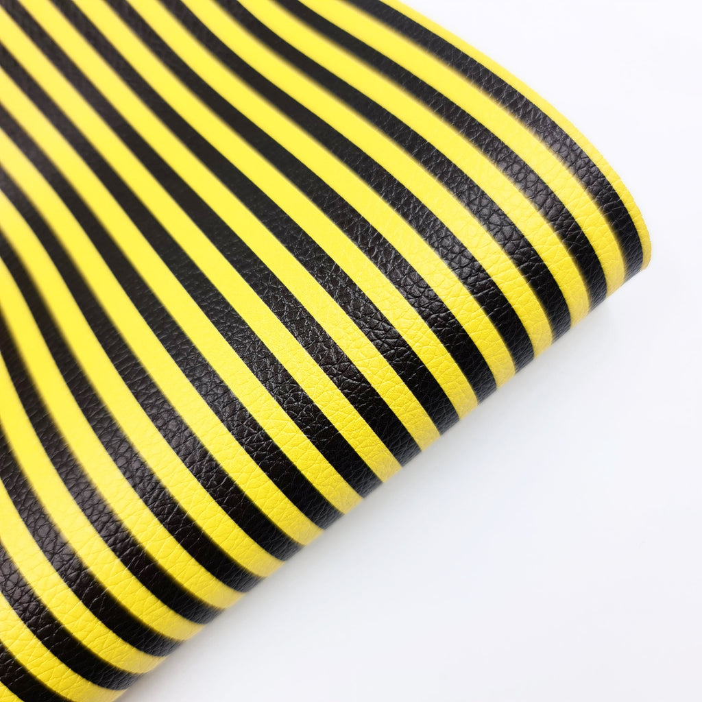 Bee Stripe Litchi Leatherette - Jolif The Craft Shop