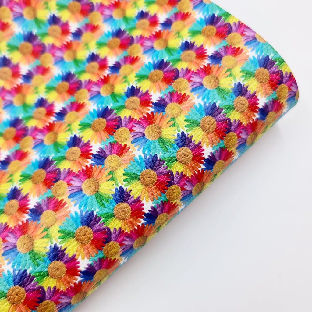Rainbow Sunflower Litchi Leatherette