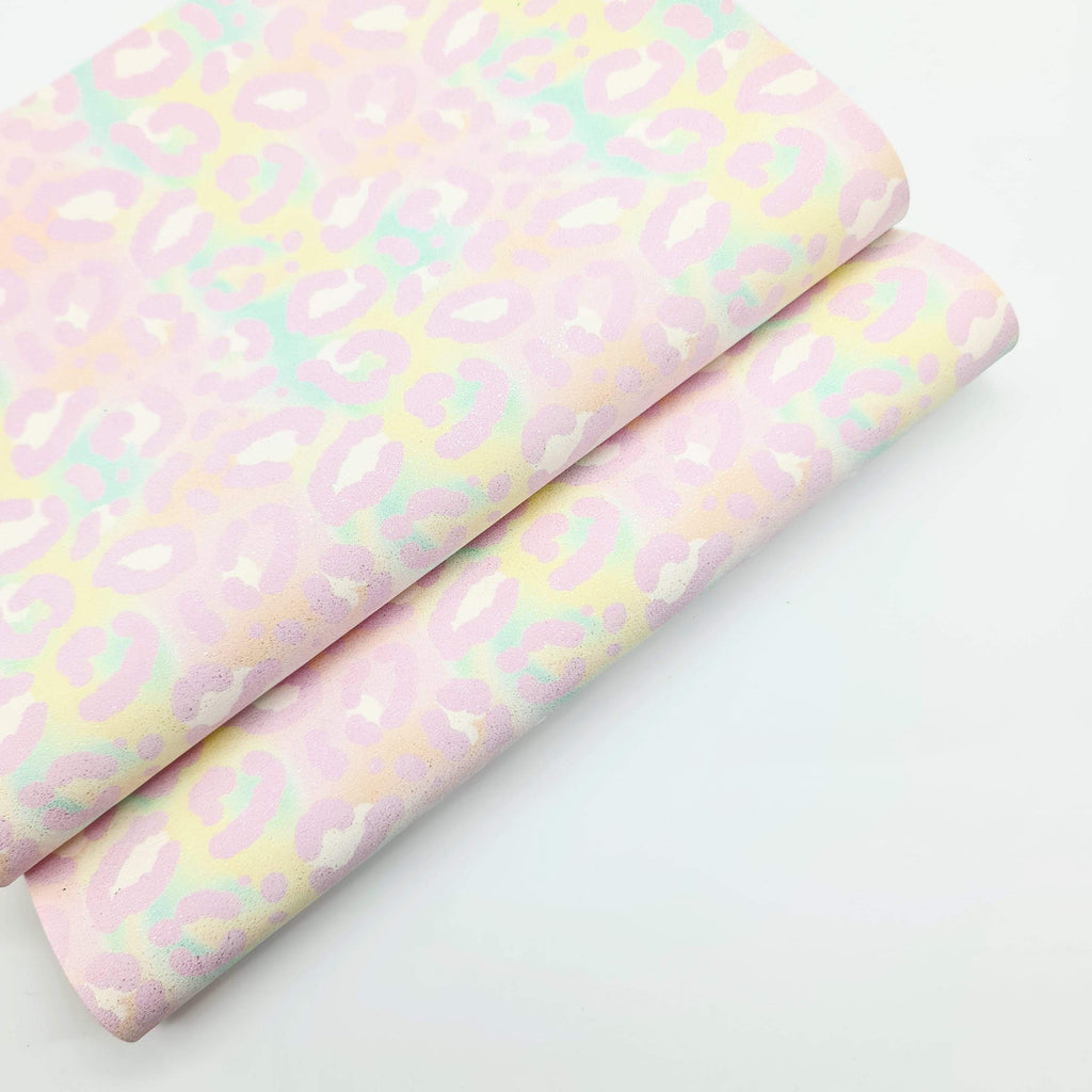 Mini Sheet Pastel Leopard Glitter Suede - Jolif The Craft Shop