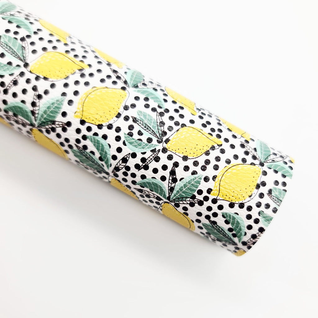 Dotty Over Lemons Litchi Leatherette - Jolif The Craft Shop