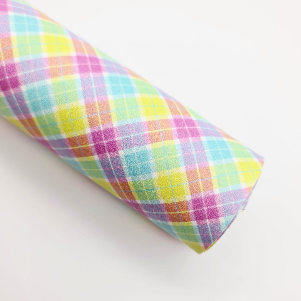 Rainbow Plaid Artisan Leatherette - Jolif The Craft Shop