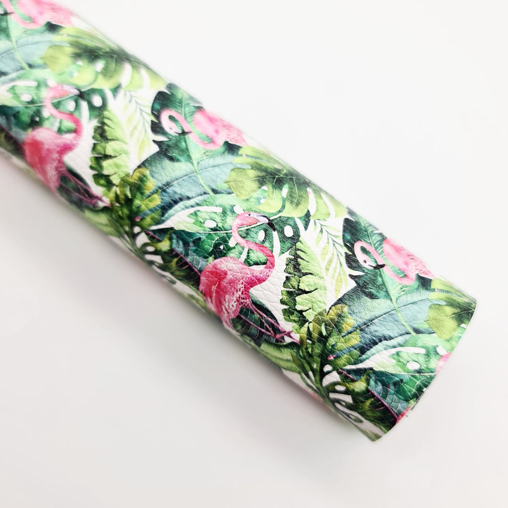 Flamingo Tropic Litchi Leatherette - Jolif The Craft Shop