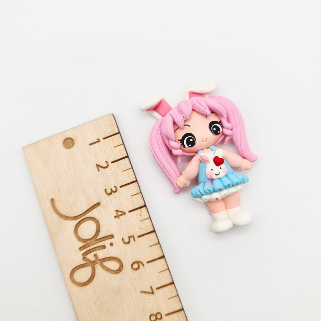 Bunny Girl (pink) Clay Doll - Jolif The Craft Shop