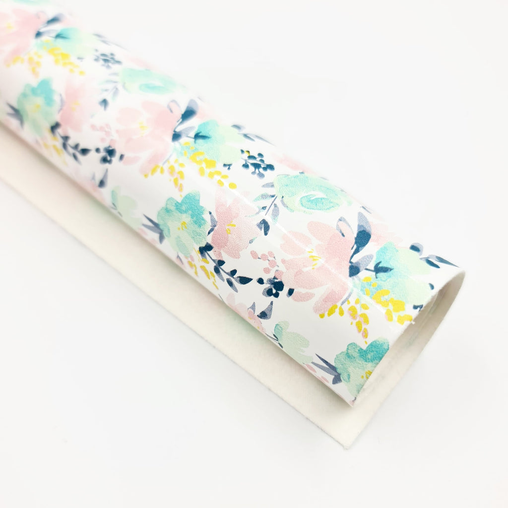 Pink & Mint Floral Patent Leatherette - Jolif The Craft Shop