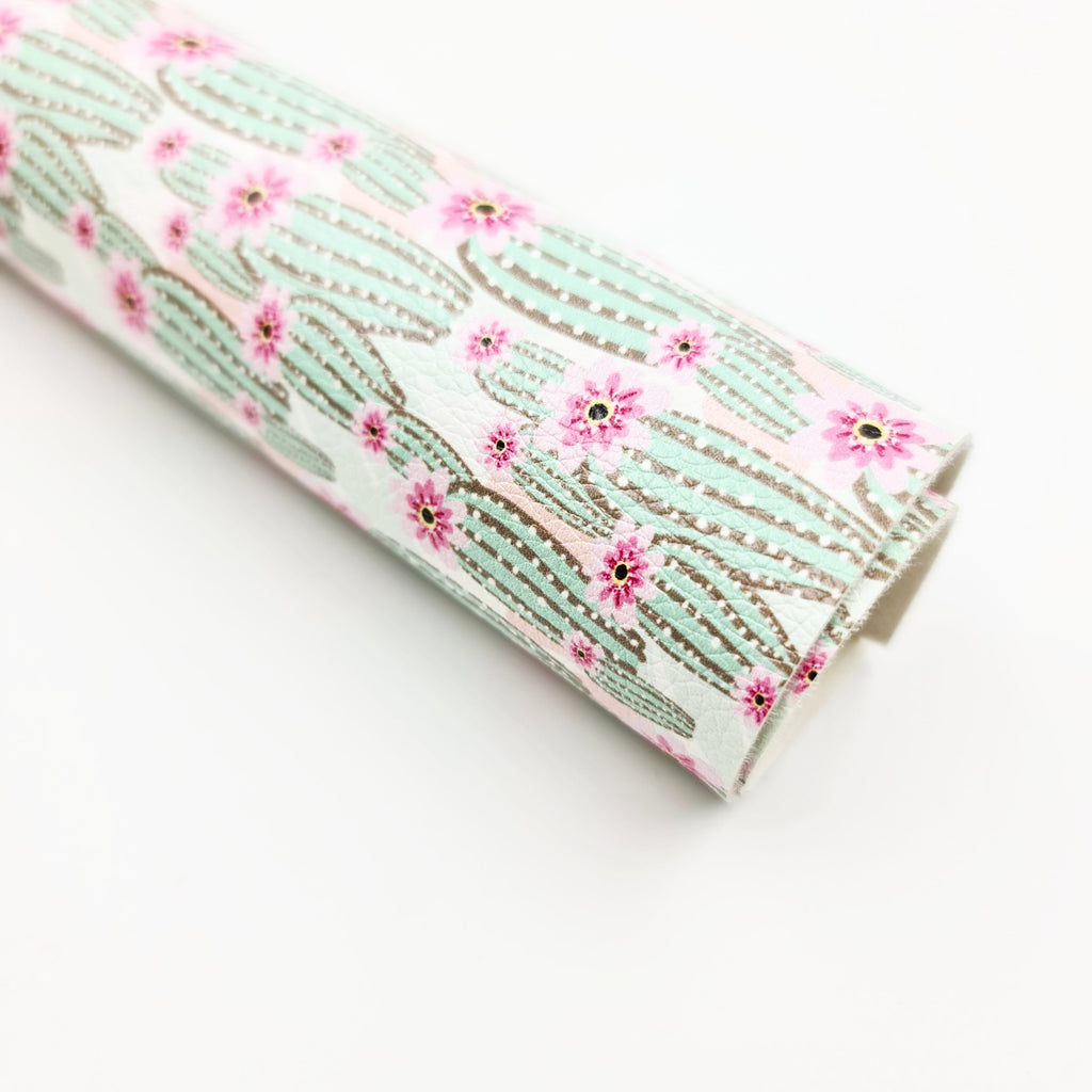 Blooming Cactus Litchi Leatherette - Jolif The Craft Shop