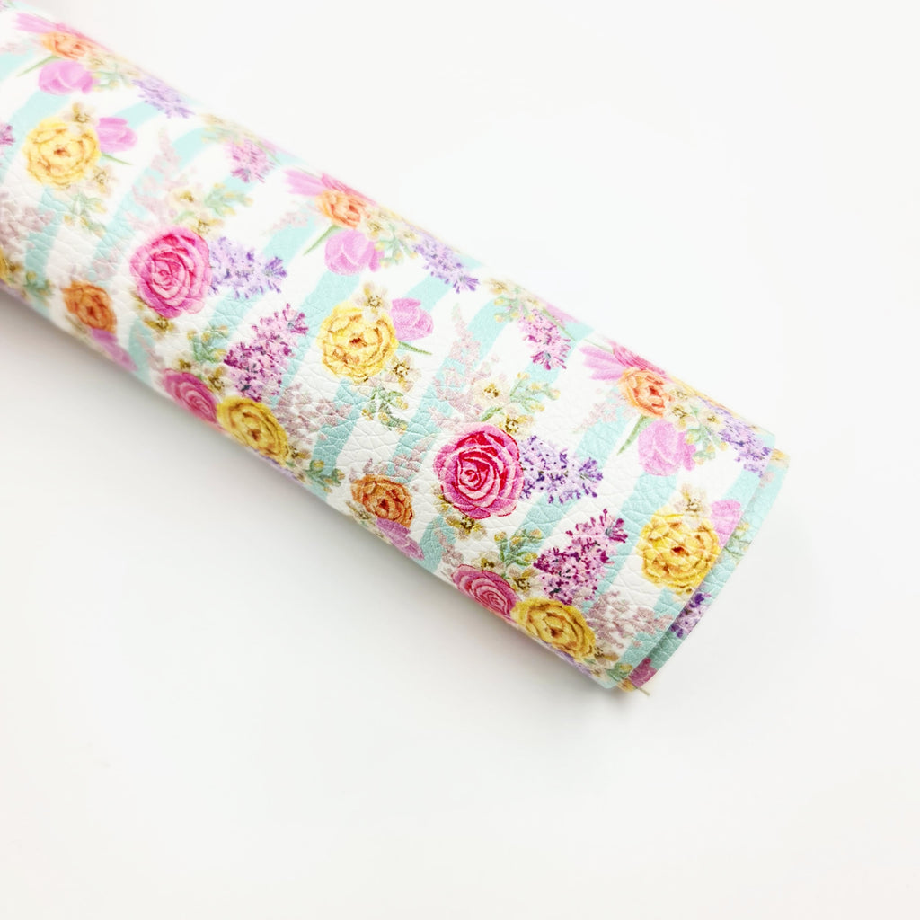 Blooms & Minty Stripe Litchi Leatherette - Jolif The Craft Shop