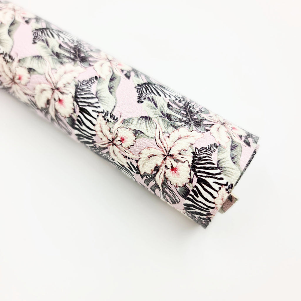 Zebra Floral Litchi Leatherette - Jolif The Craft Shop