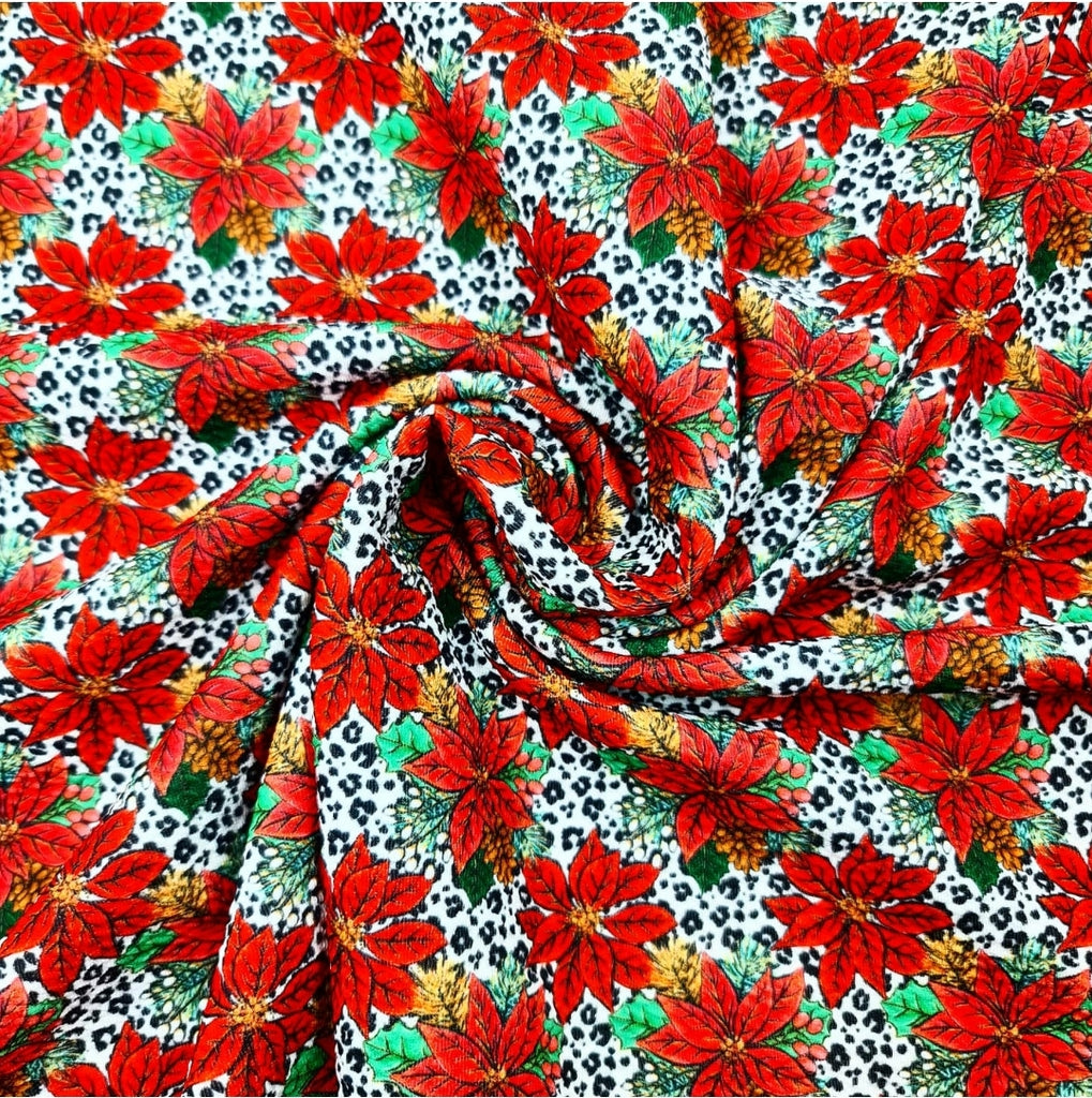 Leopard Poinsettia Artisan Bullet Fabric - Jolif The Craft Shop