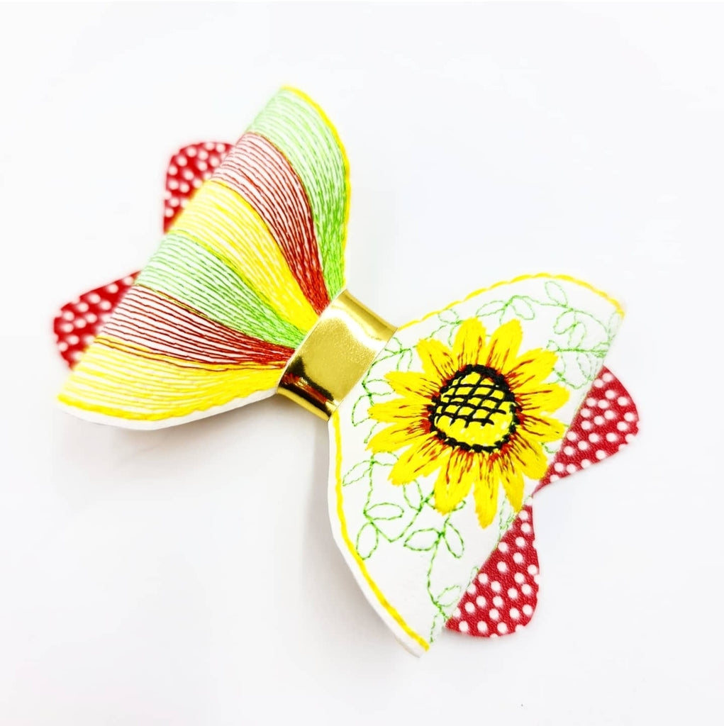 Sunflower Motif Stitched Bows - Jolif The Craft Shop