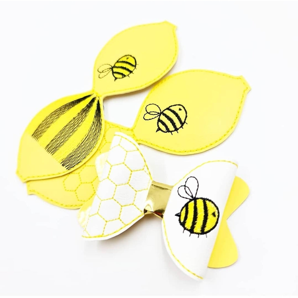 Buzzy Bee Motif Stitched Bows - Jolif The Craft Shop