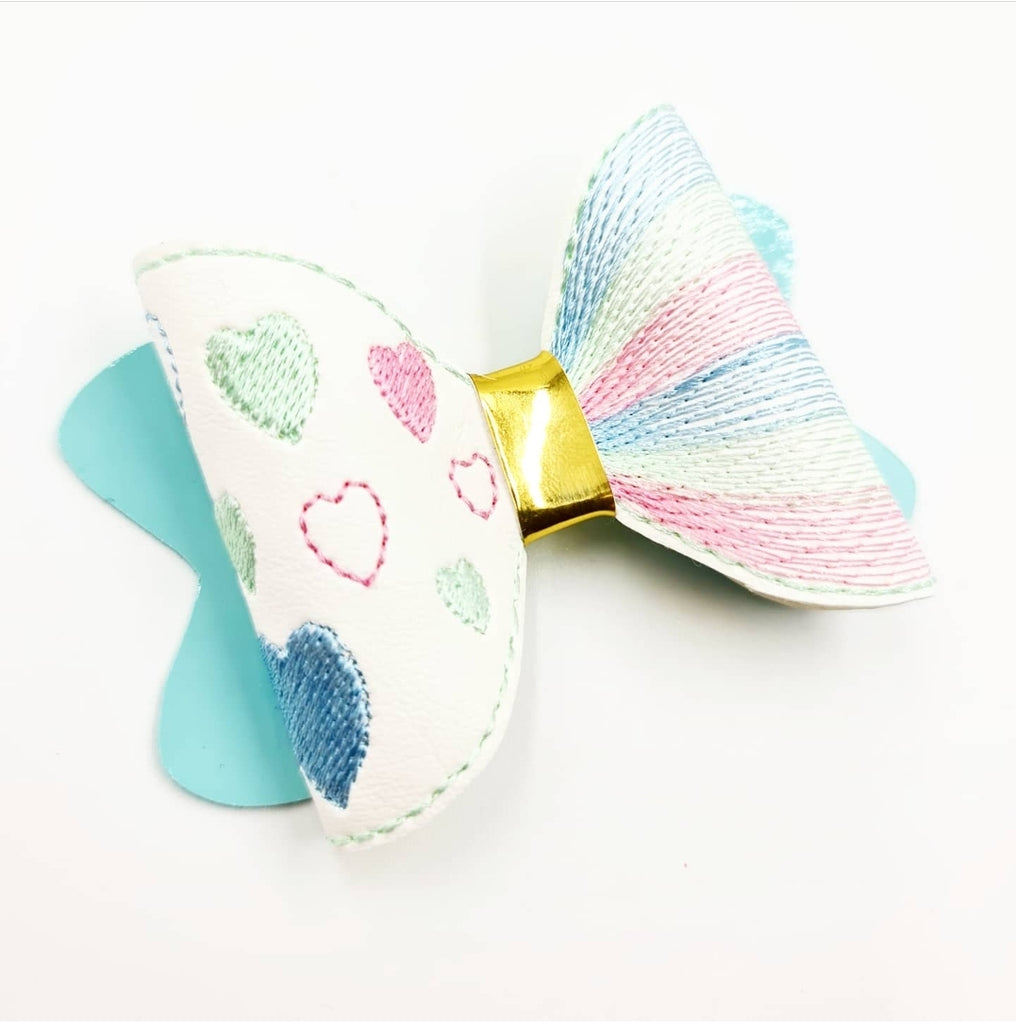 Pastel Heart Motif Stitched Bow - Jolif The Craft Shop