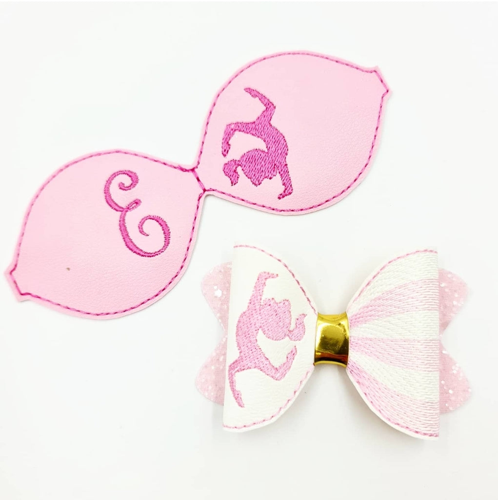 Gymnastics Motif Stitched Bows - Jolif The Craft Shop