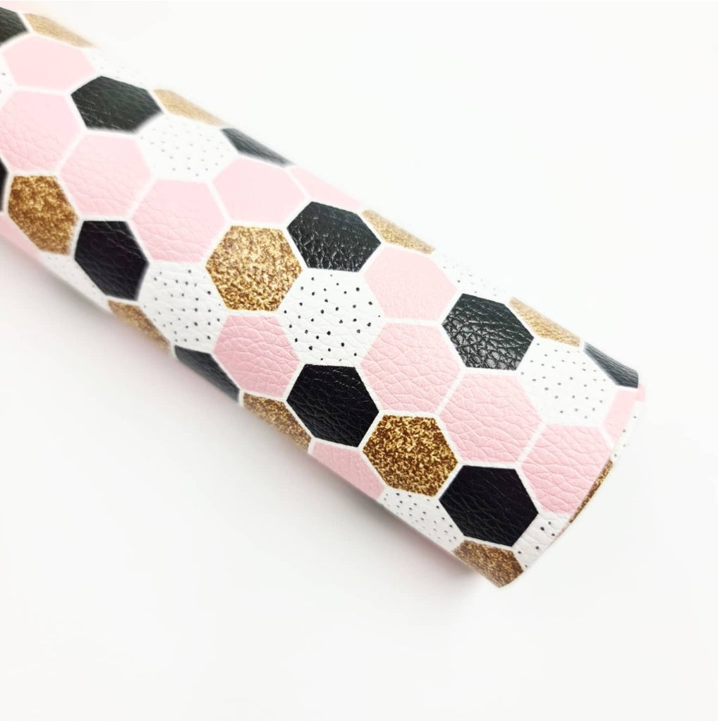 Pink & Gold Honeycomb Litchi Leatherette - Jolif The Craft Shop